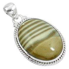 Natural grey striped flint ohio 925 sterling silver pendant jewelry m71681