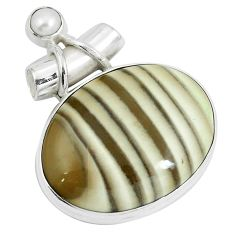 Natural grey striped flint ohio white pearl 925 silver pendant m71683