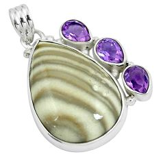 Natural grey striped flint ohio purple amethyst 925 silver pendant m71687