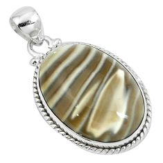 Natural grey striped flint ohio 925 sterling silver pendant jewelry m71692