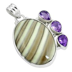 Natural grey striped flint ohio amethyst 925 silver pendant jewelry m71698