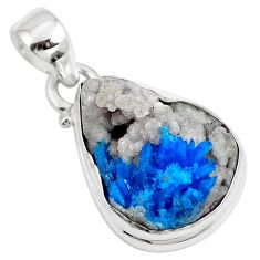 11.23cts natural blue cavansite 925 sterling silver pendant jewelry m71981