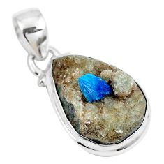 10.72cts natural blue cavansite 925 sterling silver pendant jewelry m71984