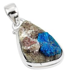 11.23cts natural blue cavansite 925 sterling silver pendant jewelry m71986