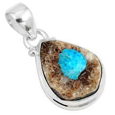 10.15cts natural blue cavansite 925 sterling silver pendant jewelry m71987