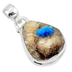 11.73cts natural blue cavansite 925 sterling silver pendant jewelry m71988