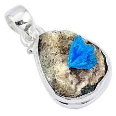 11.23cts natural blue cavansite 925 sterling silver pendant jewelry m71994