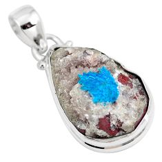 13.55cts natural blue cavansite 925 sterling silver pendant jewelry m71995