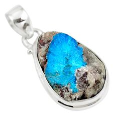 15.20cts natural blue cavansite 925 sterling silver pendant jewelry m71999