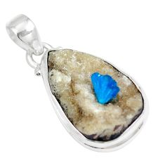 12.90cts natural blue cavansite 925 sterling silver pendant jewelry m72000