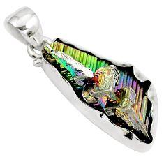Natural multi color bismuth crystal 925 sterling silver pendant m72001