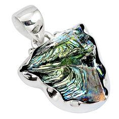 Natural multi color bismuth crystal 925 sterling silver pendant m72003