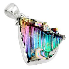 925 sterling silver natural multi color bismuth crystal pendant m72004