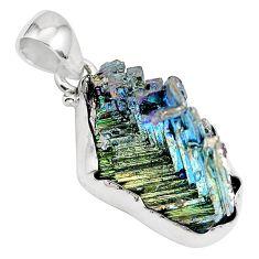 925 sterling silver natural multi color bismuth crystal pendant m72010