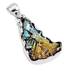 Natural multi color bismuth crystal 925 sterling silver pendant m72015