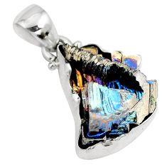 Natural multi color bismuth crystal 925 sterling silver pendant m72016