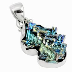 925 sterling silver natural multi color bismuth crystal pendant m72017