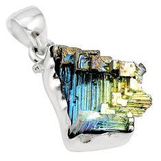 Natural multi color bismuth crystal 925 sterling silver pendant m72018