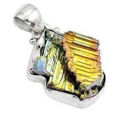 Natural multi color bismuth crystal 925 sterling silver pendant m72019