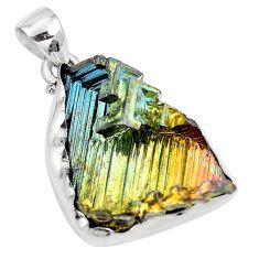925 sterling silver natural multi color bismuth crystal pendant m72020