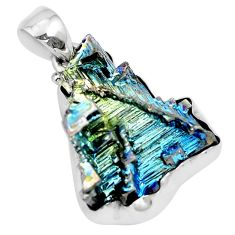 Natural multi color bismuth crystal 925 sterling silver pendant m72026