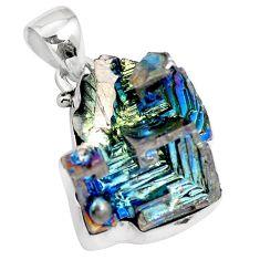 Natural multi color bismuth crystal 925 sterling silver pendant m72027