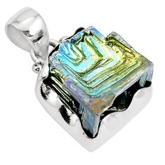 Natural multi color bismuth crystal 925 sterling silver pendant m72030