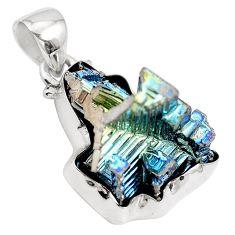 Natural multi color bismuth crystal 925 sterling silver pendant m72034