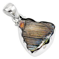 Natural multi color bismuth crystal 925 sterling silver pendant m72035