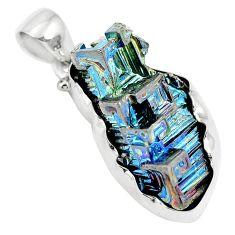 Natural multi color bismuth crystal 925 sterling silver pendant m72036