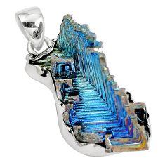 Natural multi color bismuth crystal 925 sterling silver pendant m72037