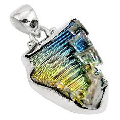 925 sterling silver natural multi color bismuth crystal pendant m72038