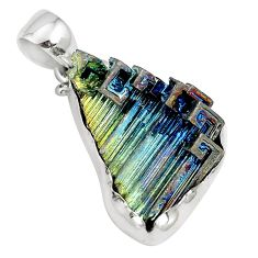 Natural multi color bismuth crystal 925 sterling silver pendant m72040