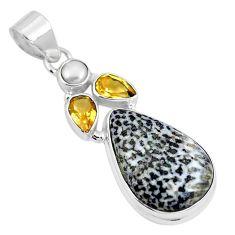 Natural black stingray coral from alaska pearl 925 silver pendant m72083