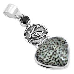 Natural black stingray coral from alaska 925 silver horse eye pendant m72094