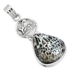 Natural black stingray coral from alaska 925 silver horse eye pendant m72097