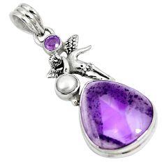Natural purple amethyst 925 silver angel wings fairy pendant jewelry m72109