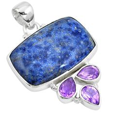 22.55cts natural blue dumortierite amethyst 925 sterling silver pendant m72152