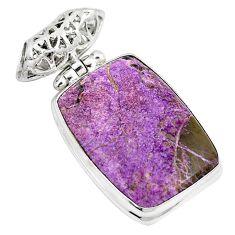 Natural purple purpurite octagan 925 sterling silver pendant jewelry m72168
