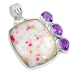 Natural red cinnabar spanish amethyst 925 silver pendant jewelry m72218