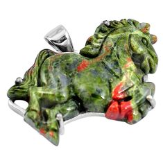 Natural green unakite 925 sterling silver horse carving pendant jewelry m73227