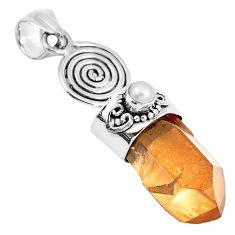 Natural tangerine lemurian quartz pearl 925 silver pendant m73561
