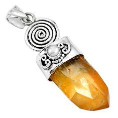 Natural tangerine lemurian quartz white pearl 925 silver pendant m73565