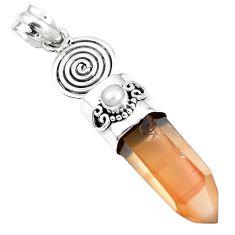 Natural tangerine lemurian quartz pearl 925 silver pendant m73568