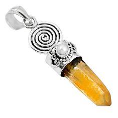 925 silver natural tangerine lemurian quartz pearl round pendant m73578