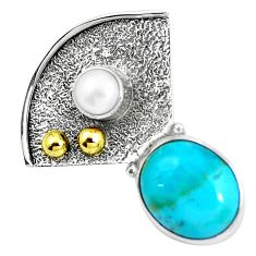 925 silver victorian blue arizona mohave turquoise two tone pendant m74684