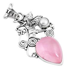 Natural pink rose quartz white pearl 925 sterling silver angel pendant m76151