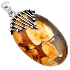 Natural brown peanut petrified wood fossil 925 silver pendant m76805