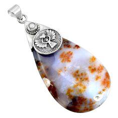 Natural scenic russian dendritic agate pearl 925 silver pendant m76826