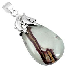 Natural brown coffee bean jasper 925 silver dolphin pendant m76901
